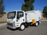 2008 GMC W5500 with Amrep Satellite 6 Yard Manual Side Loader Garbage Truck
